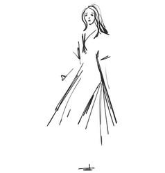 fashion girls sketch cartoon models vector image