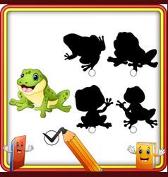 Find the correct shadow cartoon funny frog educa vector
