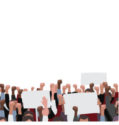 fists raised pattern with banners public protest vector image