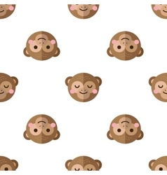 Flat cartoon monkey seamless pattern vector
