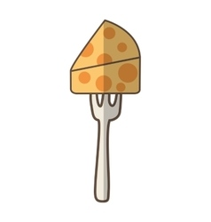 Fork with cheese piece isolated icon vector