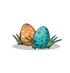 funny cartoon multicolored dinosaur eggs vector image