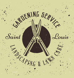 gardening service retro emblem with pruner vector image
