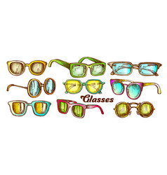 glasses fashion accessory color set vector image