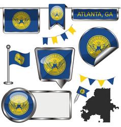 Glossy icons with flag atlanta ga vector