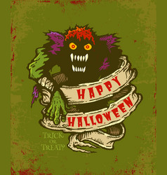 halloween monster card vector image