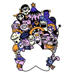 Hand drawn doodle cute cartoon monsters vector
