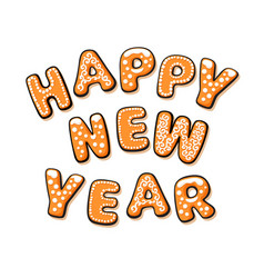 happy new year text composed of gingerbread vector image