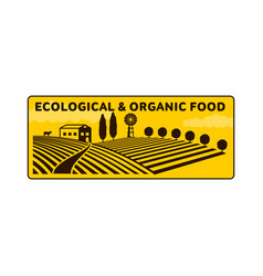 horizontal farm fields logo badge label vector image