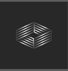 infinity logo 3d isometric shape boxing ring vector image