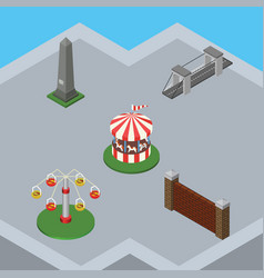 Isometric architecture set of dc memorial barrier vector