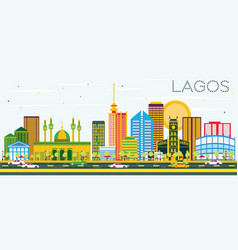 lagos skyline with color buildings and blue sky vector image