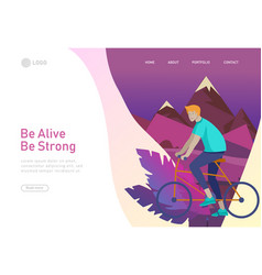 Landing page template with people riding bicycles vector