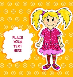 Little blond girl card vector image