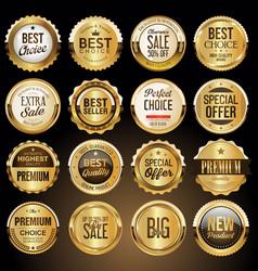 luxury premium golden badges and labels 2 vector image