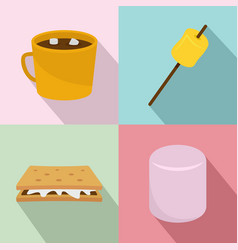Marshmallow smores candy icons set flat style vector