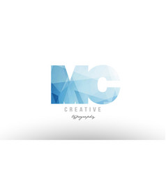 Mc m c blue polygonal alphabet letter logo icon vector