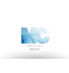 mc m c blue polygonal alphabet letter logo icon vector image