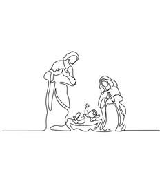 merry christmas scene holy family vector image