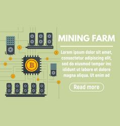 Mining farm concept banner flat style vector