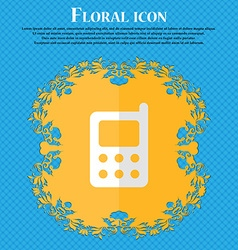mobile phone Floral flat design on a blue abstract vector image