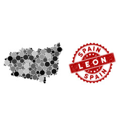 Mosaic leon province map and scratched circle seal vector