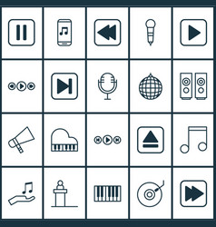 Music icons set collection of mute song audio vector
