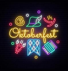 neon oktoberfest icons set vector image