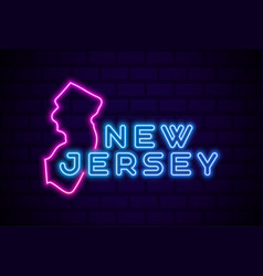 new jersey us state glowing neon lamp sign vector image
