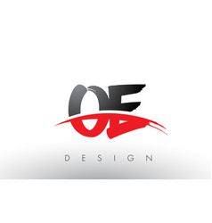 oe o e brush logo letters with red and black vector image