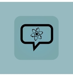 Pale blue atom message icon vector
