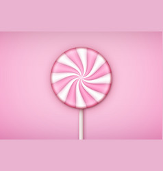Pink lolipop candy on pastel pink background vector