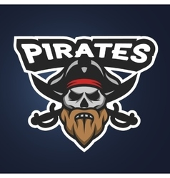 Pirate captain skull Sport emblem vector image