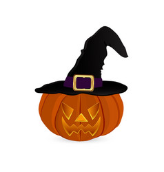 pumpkin for halloween in a witches hat vector image