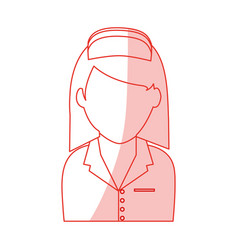 Red silhouette shading faceless female nurse half vector