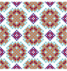 Rosette shapes folk seamless pattern vector