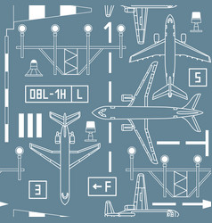 Seamless pattern with passenger airplanes vector