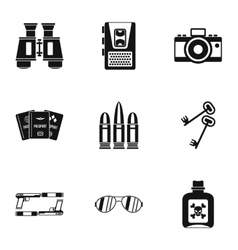 Secret agent icons set simple style vector