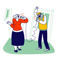 Senior characters speaking deaf phone or can vector