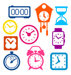 set different clocks stylized icons for design vector image