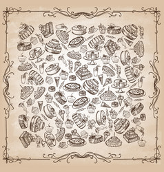 set hand-drawn desserts on old paper vector image