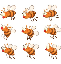 set of bees cartoon vector image vector image
