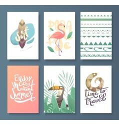 set of bright summer card vector image