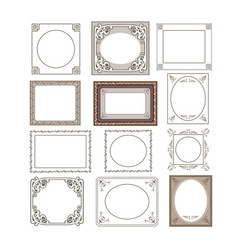 set of floral frames border vector image