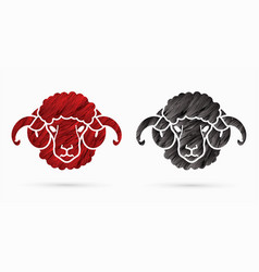sheep or lamb with big horn cartoon graphic vector image
