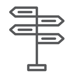 Signpost line icon decision making vector