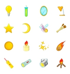 Sources of light icons set cartoon style vector