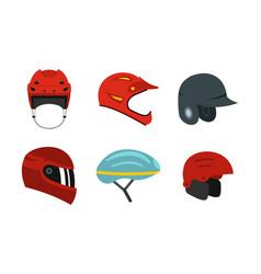 sport helmet icon set flat style vector image