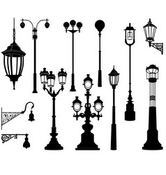 Street lamp set streetlignt silhouette city vector