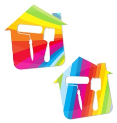 Symbol painted houses vector